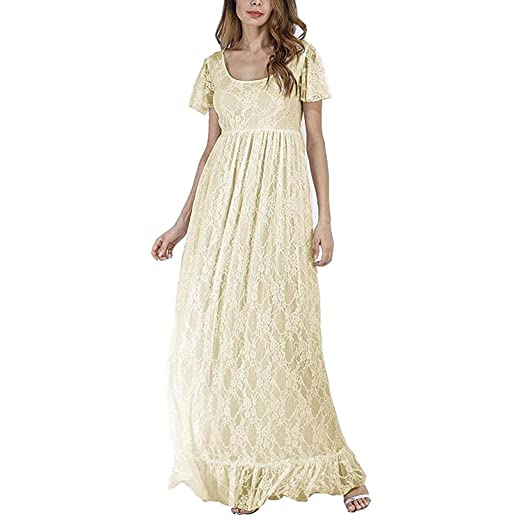 Owlfay Long Maternity Lace Maxi Dress Formal Wedding Party Gown