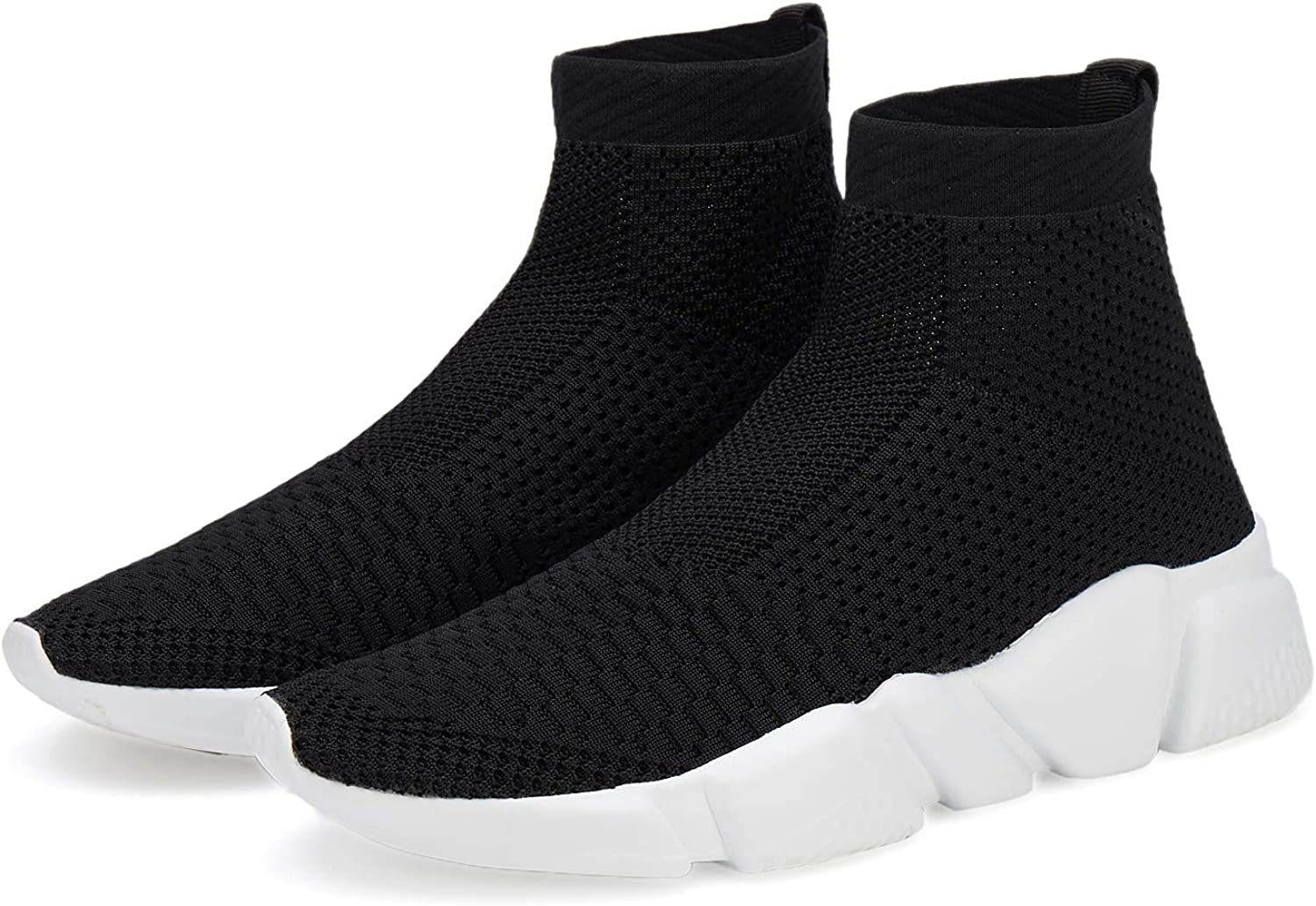 Santiro Mens Running Shoes Breathable Knit Slip On Sneakers Lightweight Athletic Shoes Casual Sports Shoes
