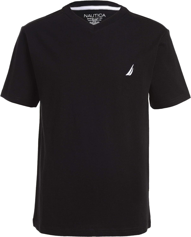 Nautica Boys Short Sleeve Solid V-Neck Tee