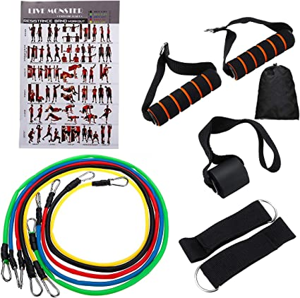 11 Piece Resistance Bands Set Heavy Workout Exercise Yoga Crossfit Fitness Tubes