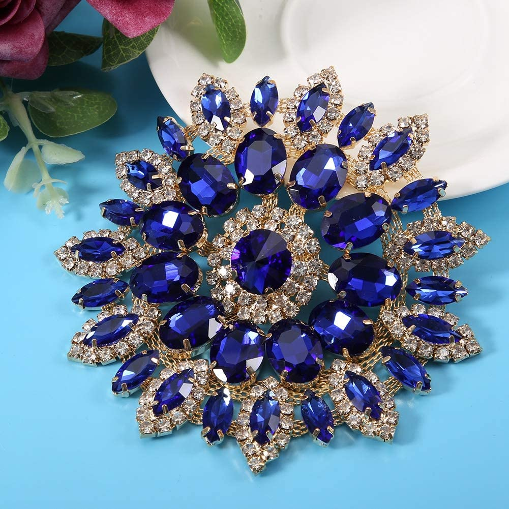 Crystal Flower Shoe Clips Vintage Crystal Rhinestone Brooch Pin for DIY Wedding Decoration Hair Accessories Gold Base Crystal Glass Rhinestones Decoration AB Color Golden Base