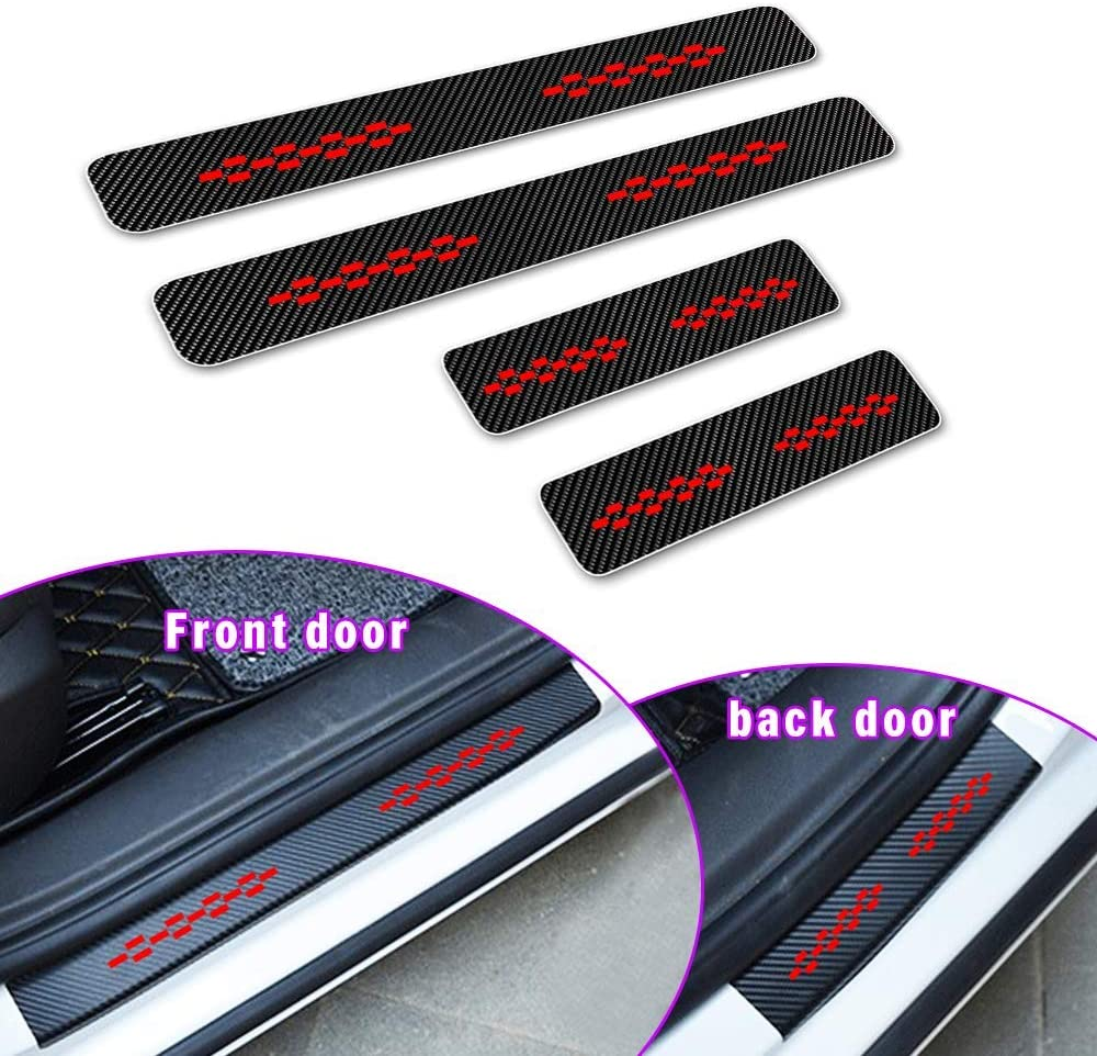 for Ford ECOSPORT Door Sill Protector Reflective 4D Carbon Fiber Sticker Door Entry Guard Door Sill Scuff Plate Stickers Auto Accessories 4Pcs Blue