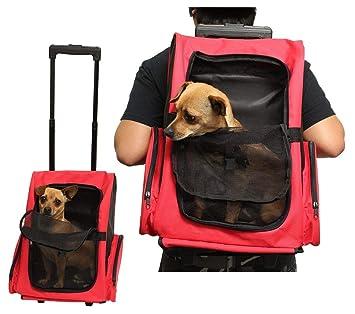 sunlightam transportín viaje sobre ruedas carrito perro gato malla mochila equipaje Caso