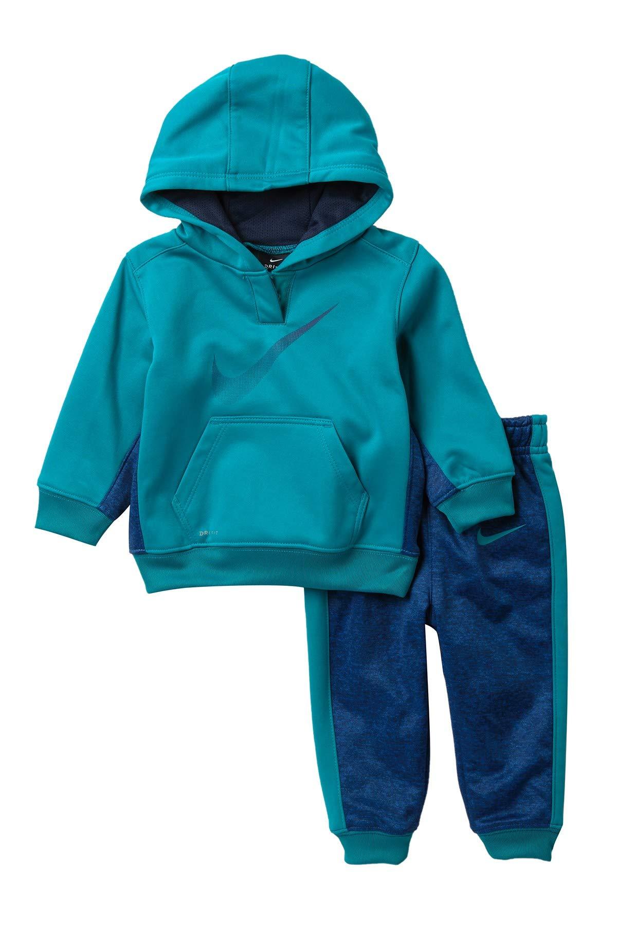 NIKE Boy`s 2 Piece Therma-FIT Zip Hoodies & Pants Set (Blustery(66B572-U3D)/Blue, 12 Months)