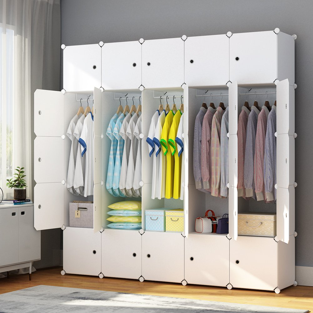 MAGINELS Portable Closet Clothes Wardrobe Bedroom Armoire Storage Organizer with Doors 25 Cube White Closet