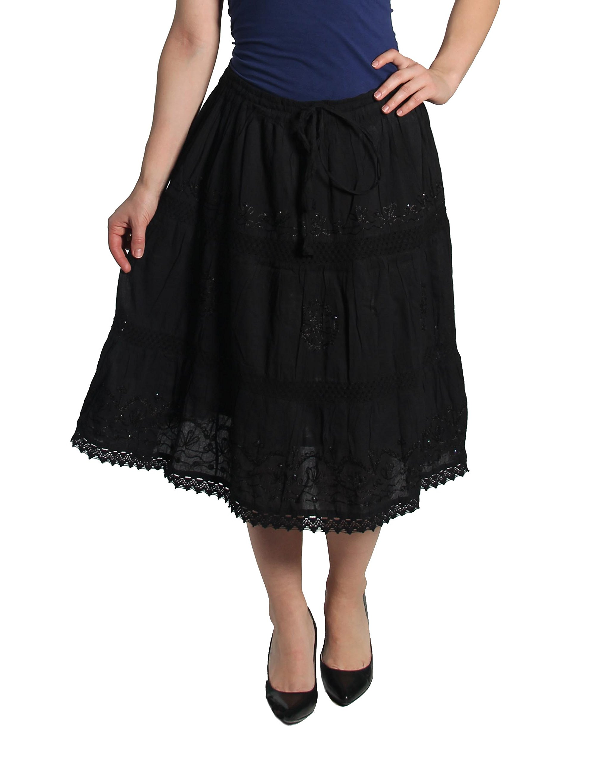 KayJay Styles Solid Color Bohemian Hippie Belly Gypsy Short Cotton Mid Length Skirt (Black) One Size