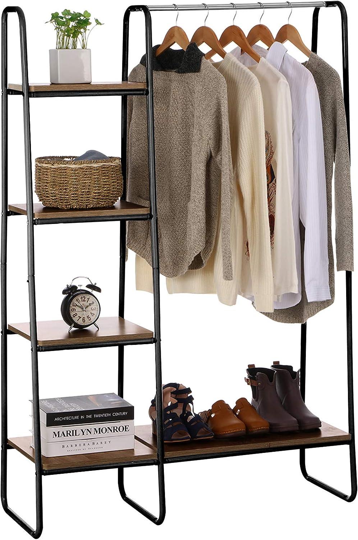 4 Tiers Clothing Storage Rack Black Organizer Iron Rack Home Garment Shelf New