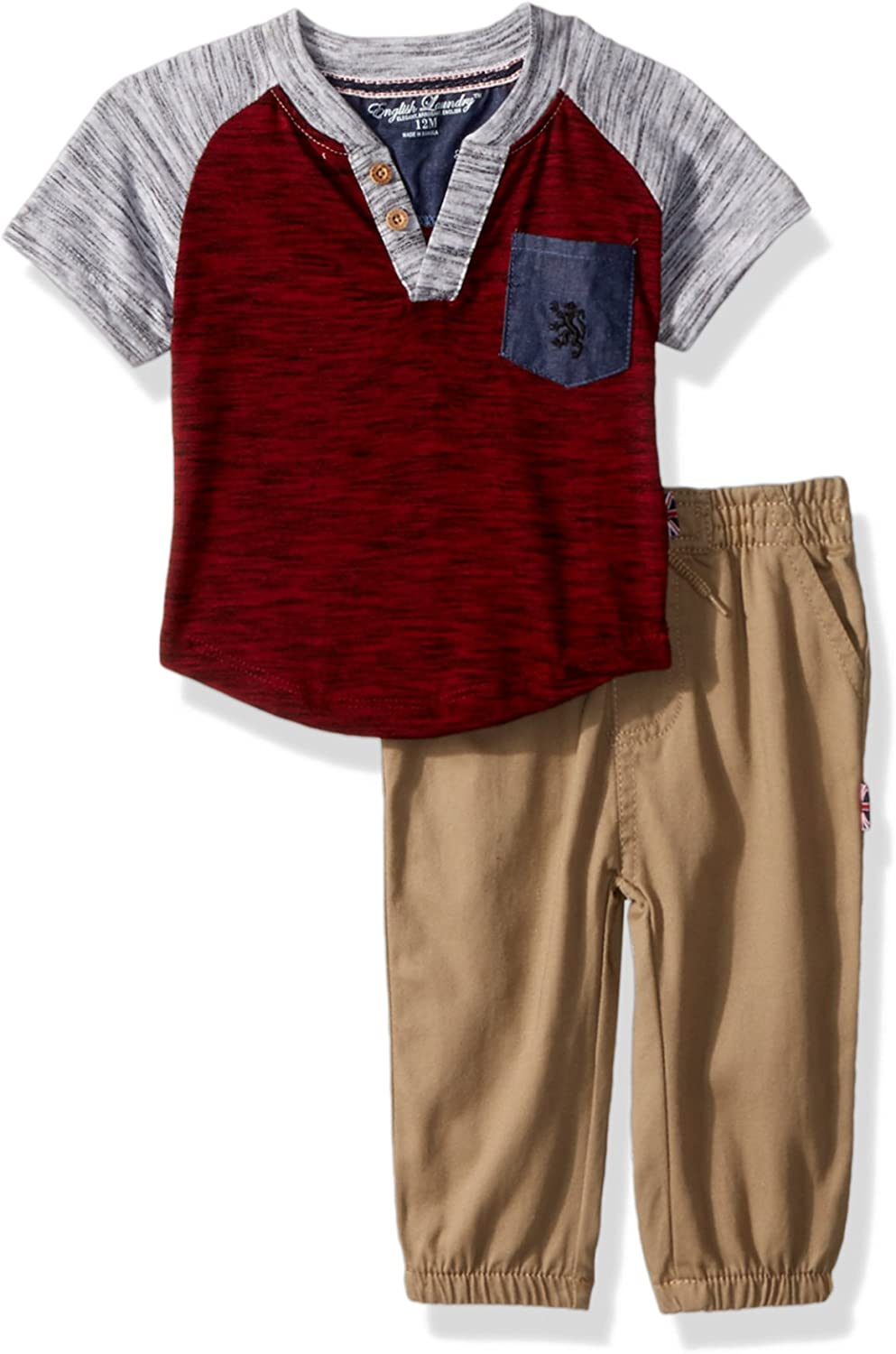 English Laundry Baby Boys Color Block Henley with Twill Jog Pant