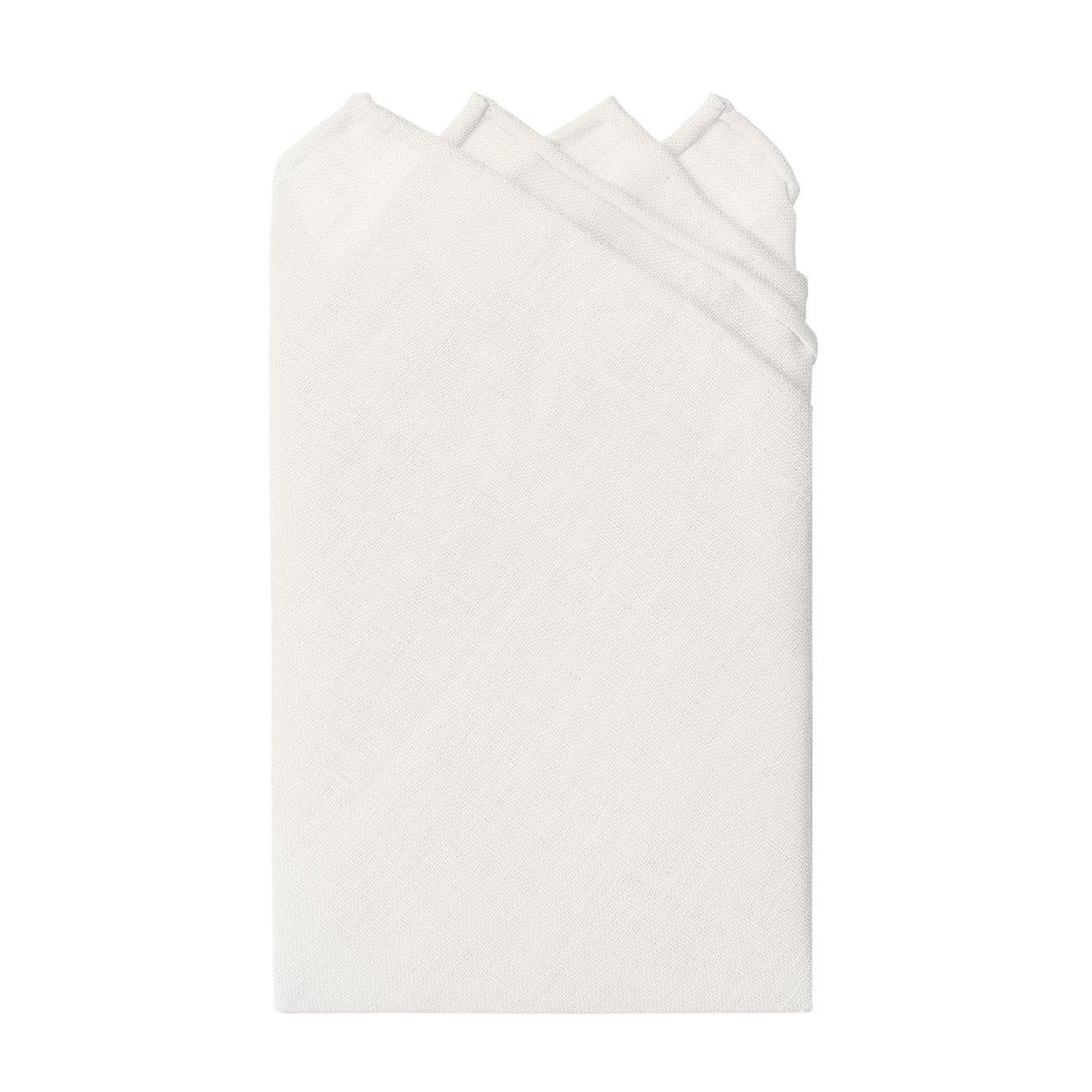 Jacob Alexander Linen Handrolled 15'' x 15'' Pocket Square Hanky - White