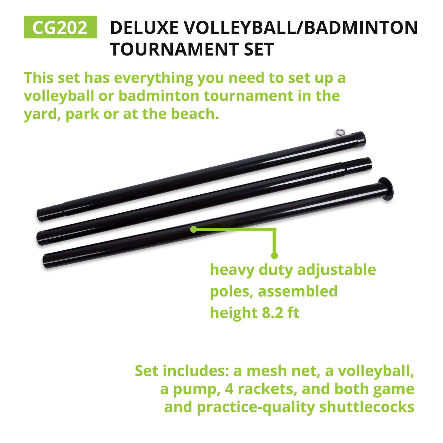 Champion Sports Volleyball & Badminton Set: Net, Poles, Ball, Rackets & Shuttlecocks - Portable Equipment for Outdoor, Lawn, Beach & Tournament Games by Champion Sports (Image #6)