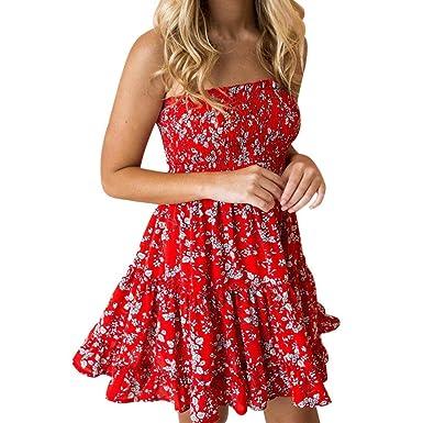 207970024aaa MEIbax Women Sexy Printing Off Shoulder Sleeveless Mini Dress Princess Dress   Amazon.co.uk  Clothing