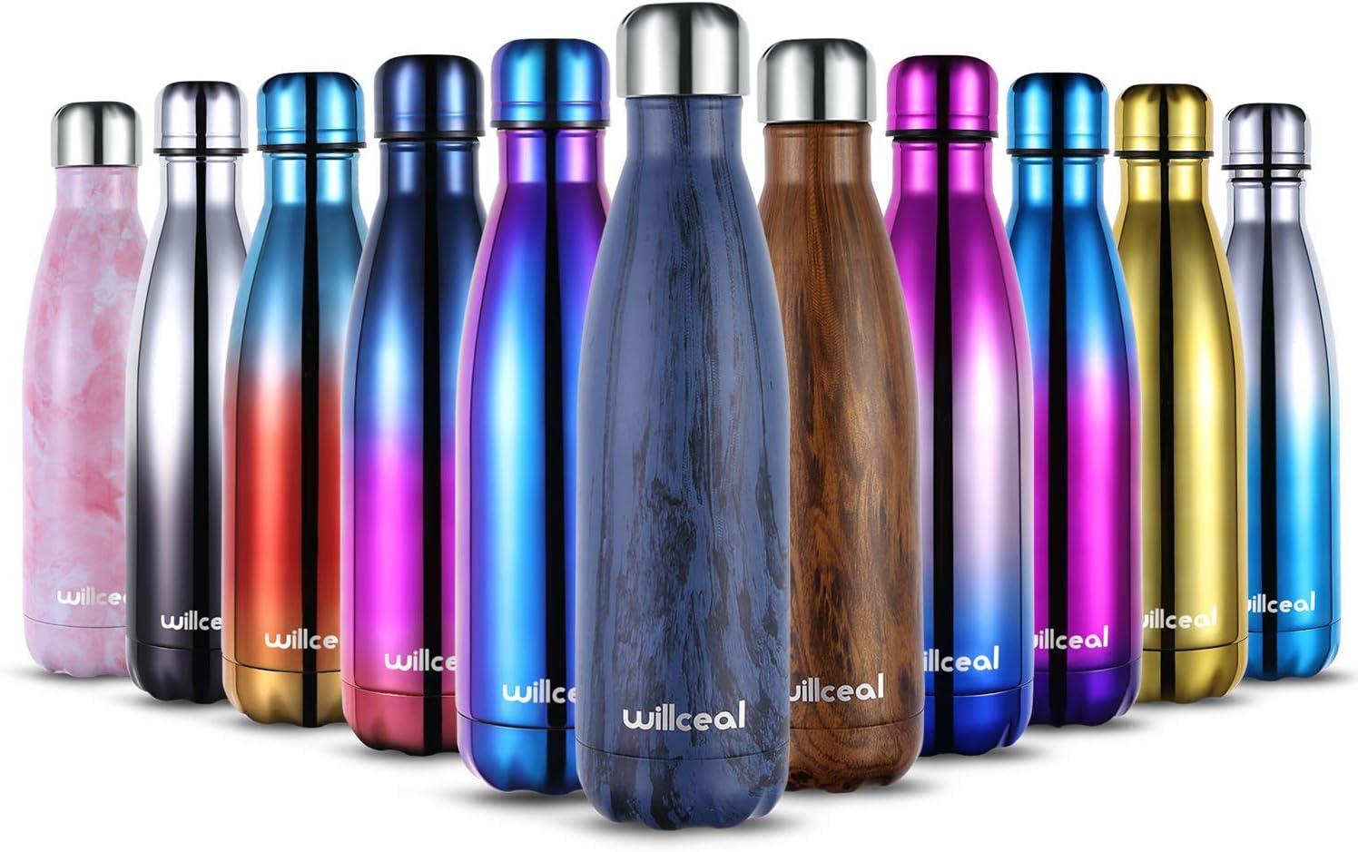 Willceal - Botella de agua de doble pared de acero inoxidable con aislamiento al vacío, 500 ml, a prueba de fugas, para mantener el frío y bebidas calientes, para deportes al aire libre, camping, etc.