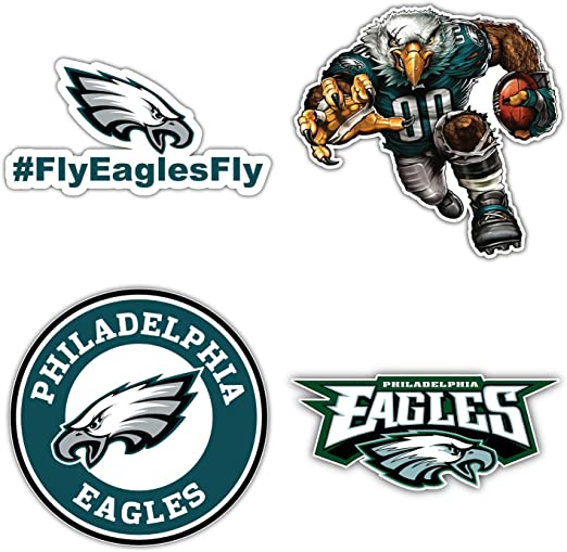 qualityprint Philadelphia Eagles Set of 4 NFL Football Car Bumper Stickers Decals 5 Longer Side