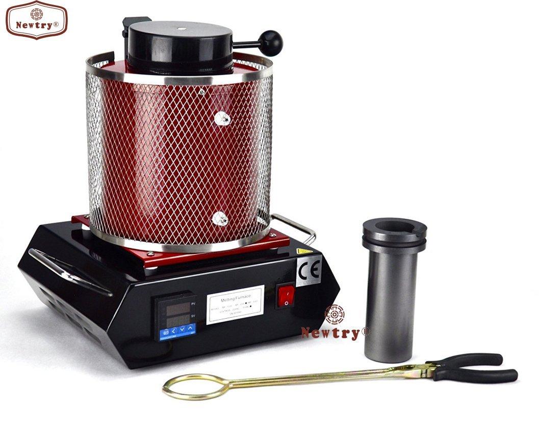 2 KG Digital Gold Melting Furnace 110V Casting Refining Assaying Precious Metals Melt Silver Copper Tin Aluminum 2102 F by Newtry