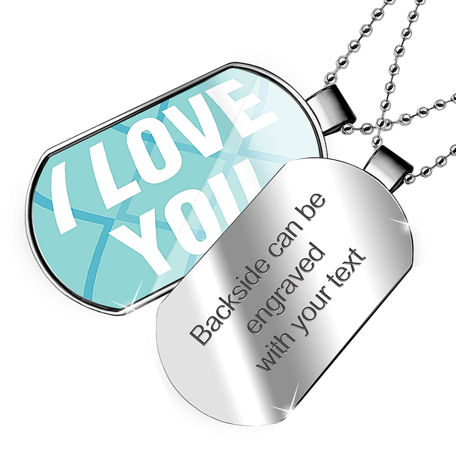 NEONBLOND Personalized Name Engraved I Love You Mothers Day Bold Blue Design Dogtag Necklace