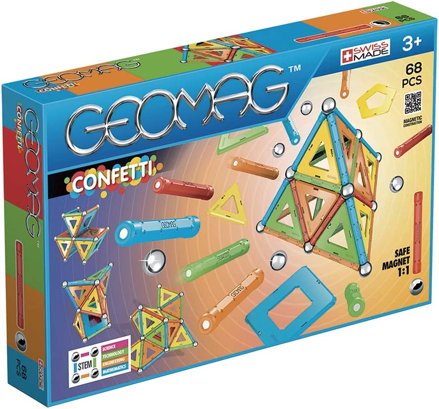 Geomag Confetti Magnetic Buildings and Educational Games with 68 Pieces
