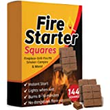 Bangerz Sunz Fire Starter Squares 144, Fire Starters for Fireplace, Wood Stove & Grill, Camp Fire Pit Charcoal Starters…
