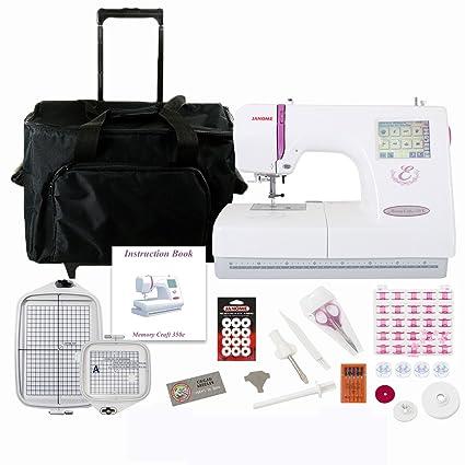 Amazon Janome 350e Memory Craft Embroidery Machine Bundle