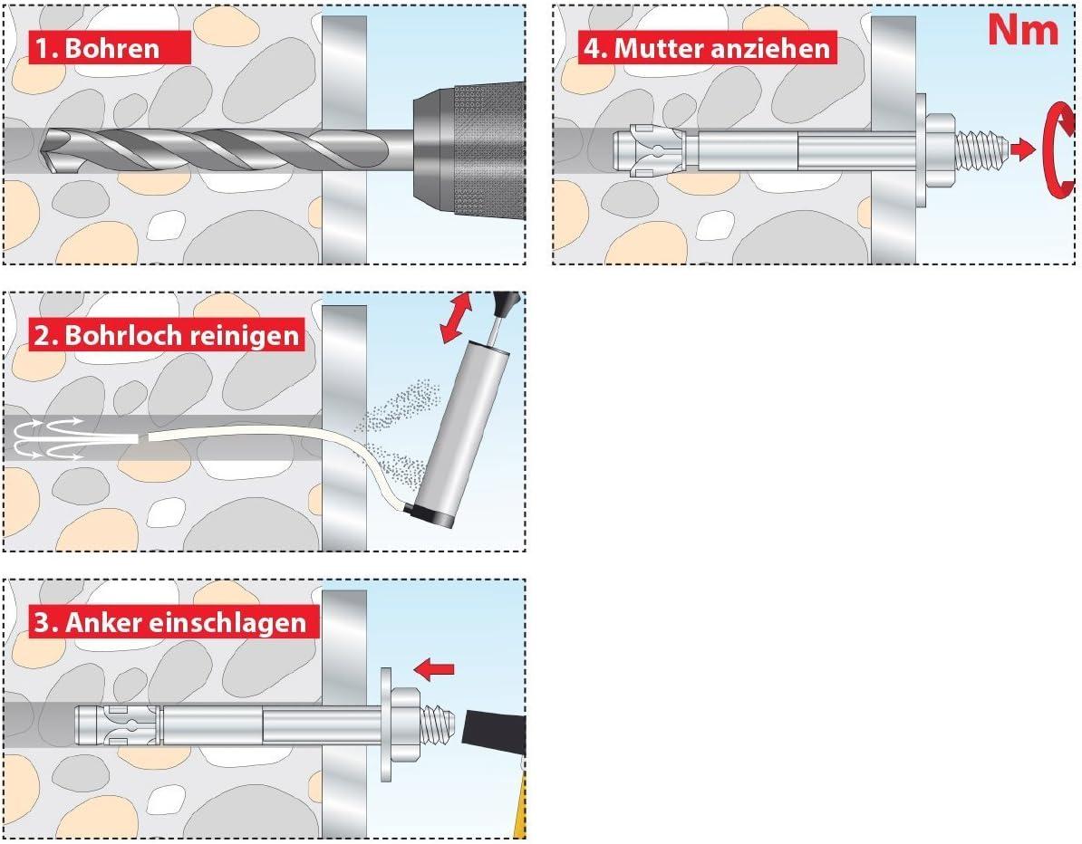 10 pi/èces 04210152 TOX Goujon dancrage S-Fix Plus M20 x 170//23 mm