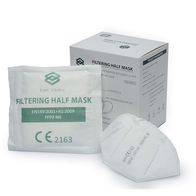 20pcs FFP2 Mascarilla facial de filtración de 4 capas con orejeras, diseño ligero y cómodo, ajustable, hipoalergénico, filtración óptima para protección, talla única para todos