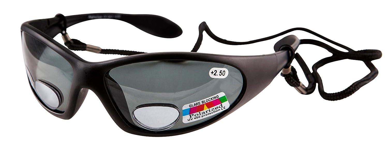 b1ef0835ef Remaldi polarised Fishing Glasses UV400 Bifocal wrap Around Strength +2.50 Angling  Eyes - Black Frame - Grey Lens Category 3  Amazon.co.uk  Health ...