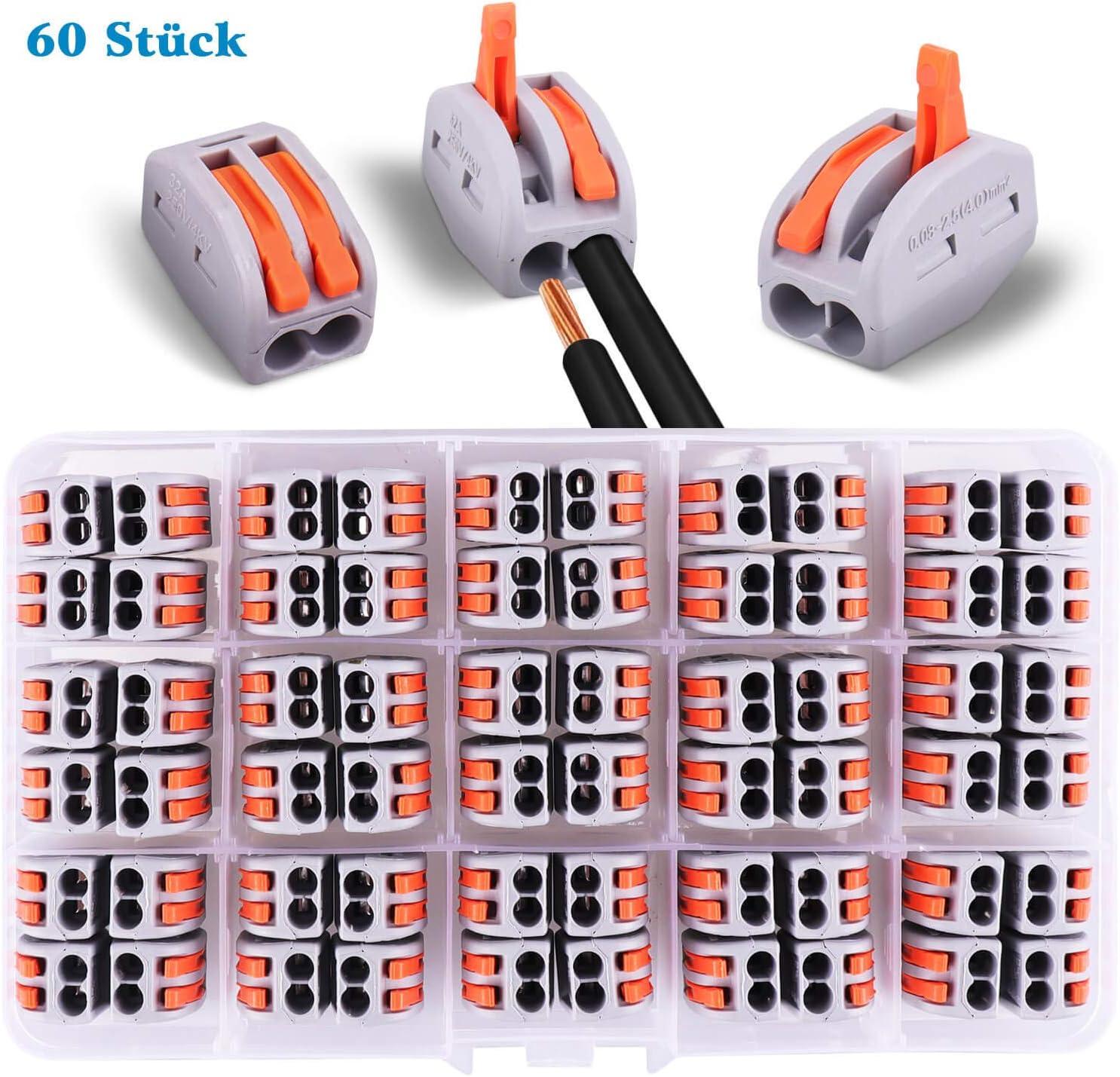 Conectores el/éctricos de 60 piezas con palanca de operaci/ón abrazadera de 2 v/ías