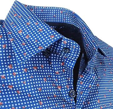 Ferlucci Calabria - Camisa para Hombre, diseño de Lunares, Color Azul Marino, Todo el año, Hombre, Color Azul, tamaño XXXL: Amazon.es: Ropa y accesorios