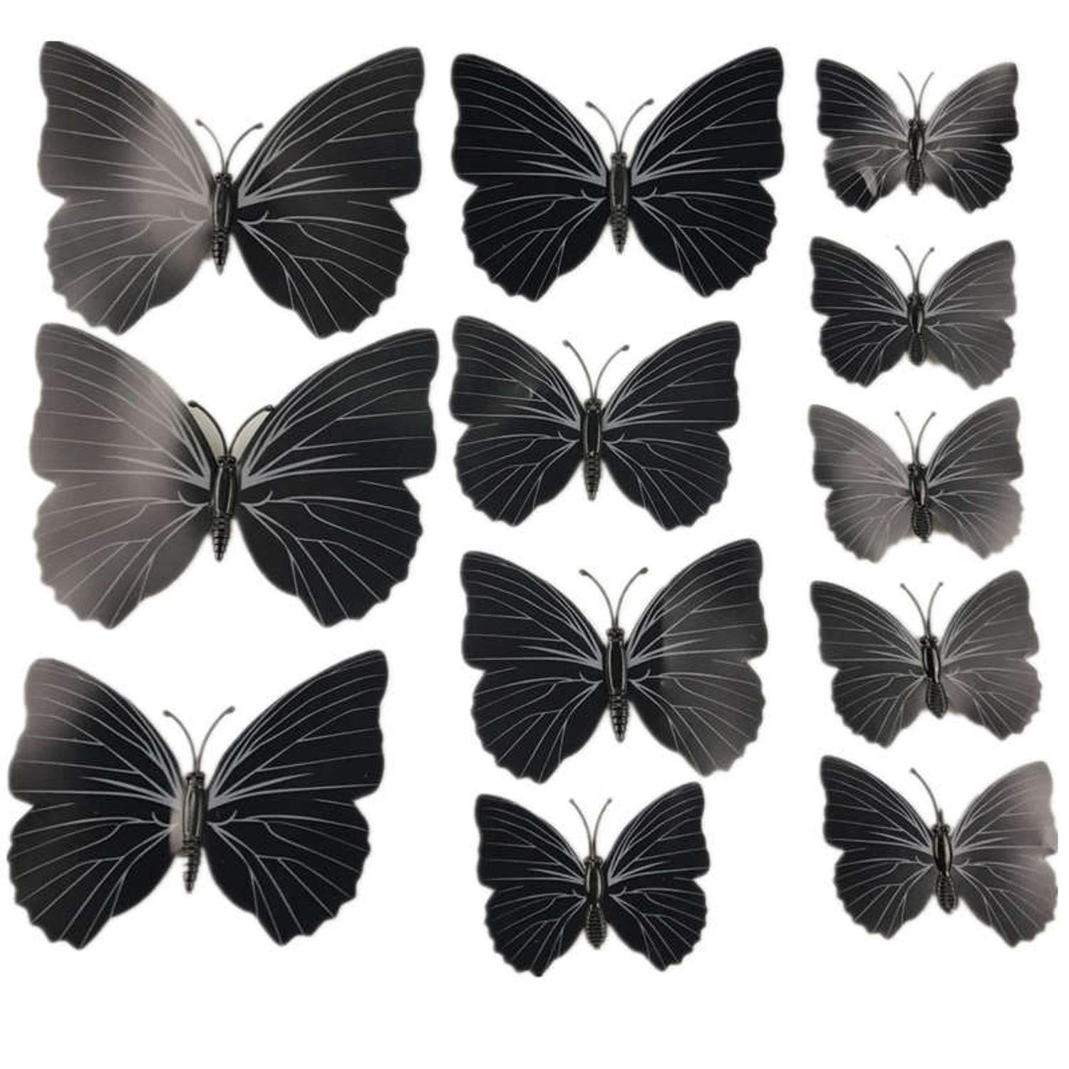 Amazon.com: Chitop (12 Pcs/Lot PVC 3D Magnet Butterfly Wall Stickers - Butterflies Decors for Wedding Party - Home Kitchen Fridge Decoration (Black): Home & ...