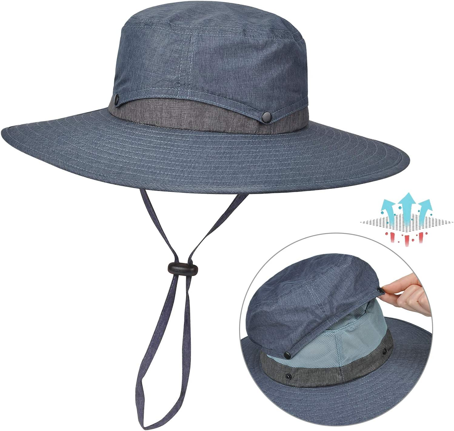 Tirrinia Outdoor Sun Protection Fishing Cap with Neck Flap, Wide Brim Sun Hat for Travel Camping Hiking Hunting Boating Safari Cap with Adjustable Drawstring