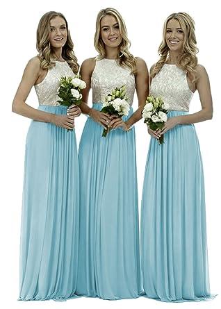 e3e24ba2a903 DYS Women's White Lace Top Bridesmaid Dress Long Formal Dresses for  Weddings Aqua ...