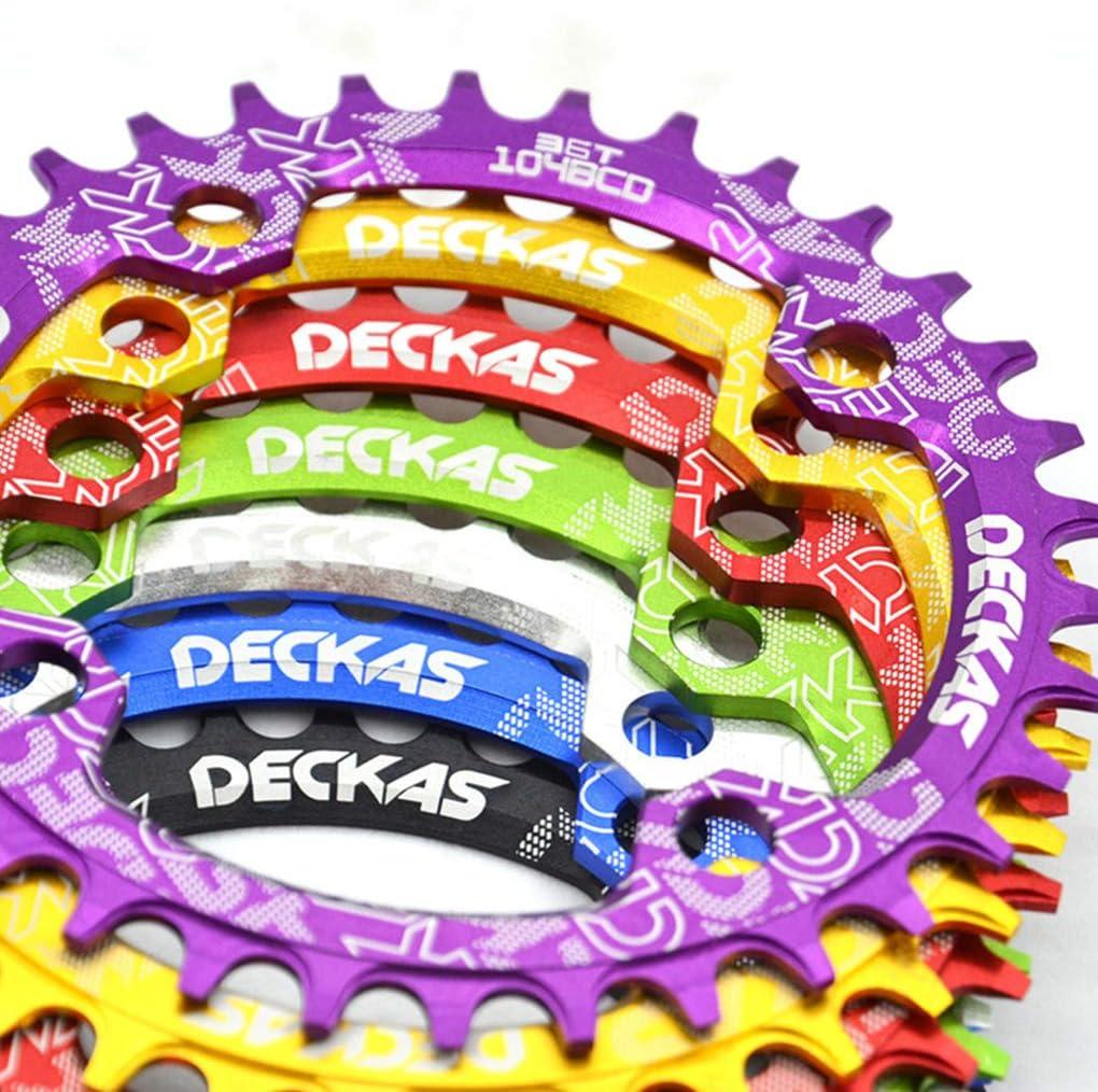 Hotaluyt Bielas MTB Diente Placa Redonda Estrecho Ancho de Bicicletas de monta/ña 104BCD Bielas Disco Azul 32T