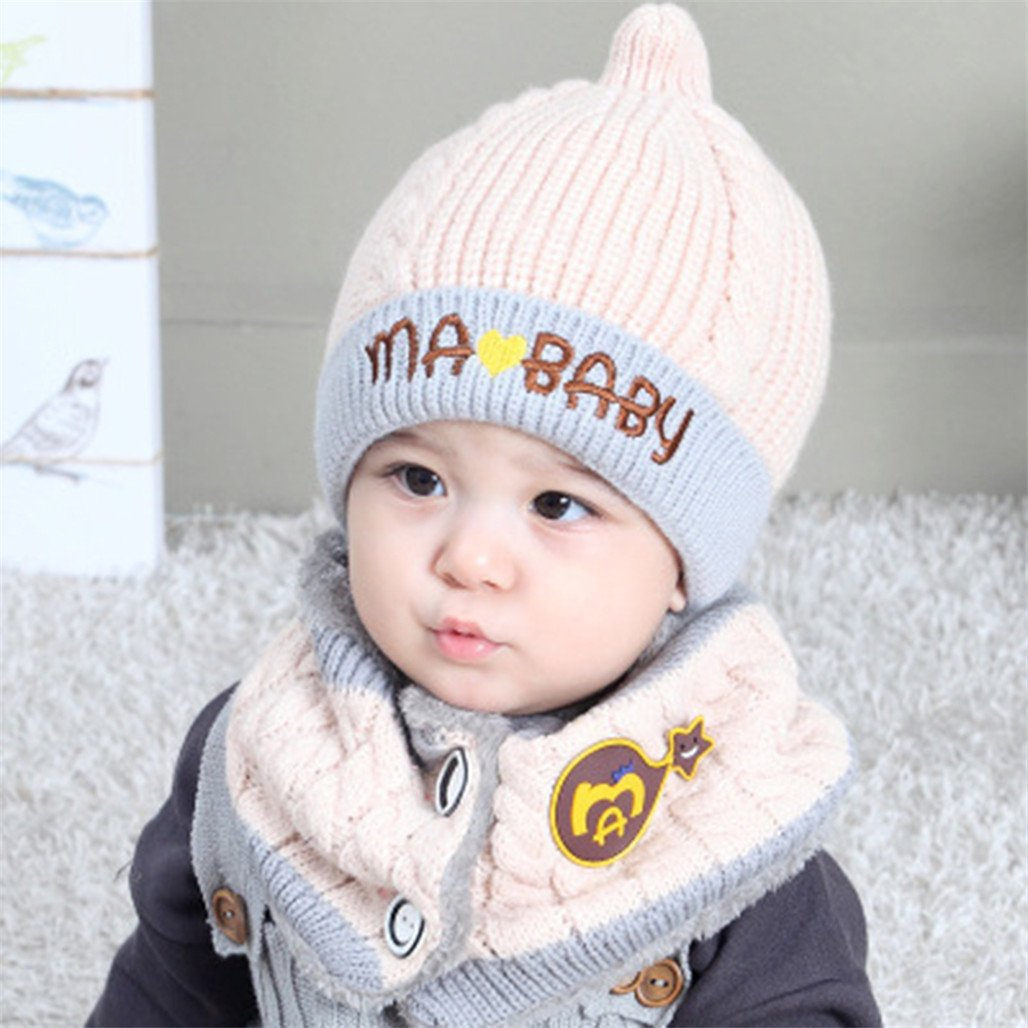 ZX101 Warm Scarf and Hat Set for Children Baby Boy Girl Letter Embroidered Knitted Beanie Cap Hat Collar Scarf