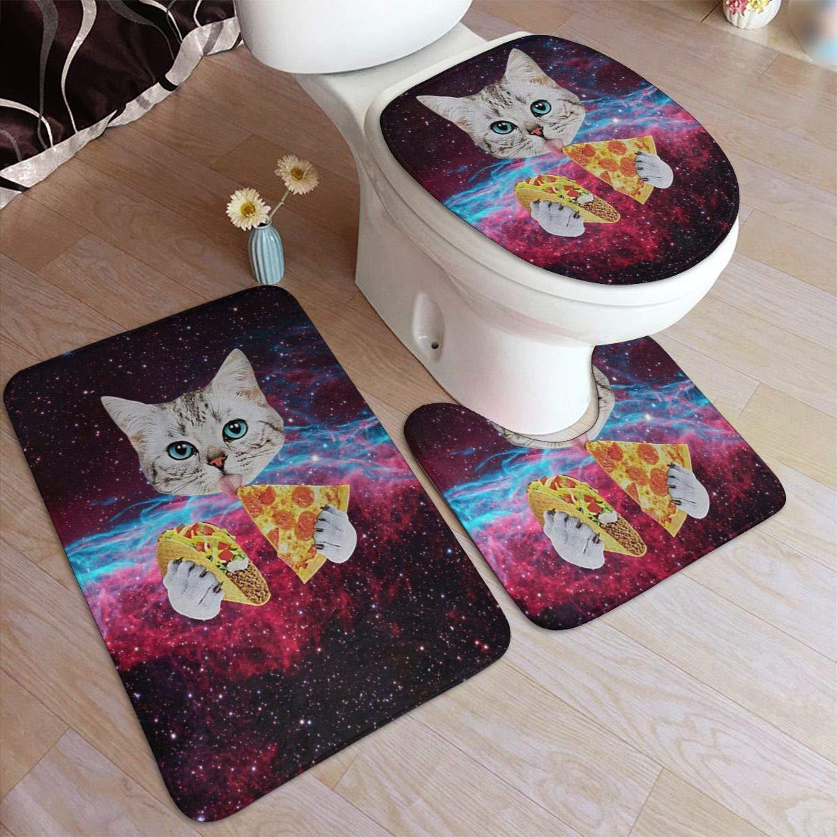 Toilet Lid Cover U Shape Soft Microfiber Non-Slip Washable Floor Rug for Tub Shower Spa Bath Mat Contour Rug 3D Galaxy Pizza Cat 3 Piece Bathroom Rug Set