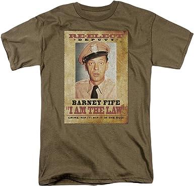 Hombres Barney Fife Soy la Ley Adulto Militar Verde Cuello Redondo Camiseta Manga Corta: Amazon.es: Ropa y accesorios