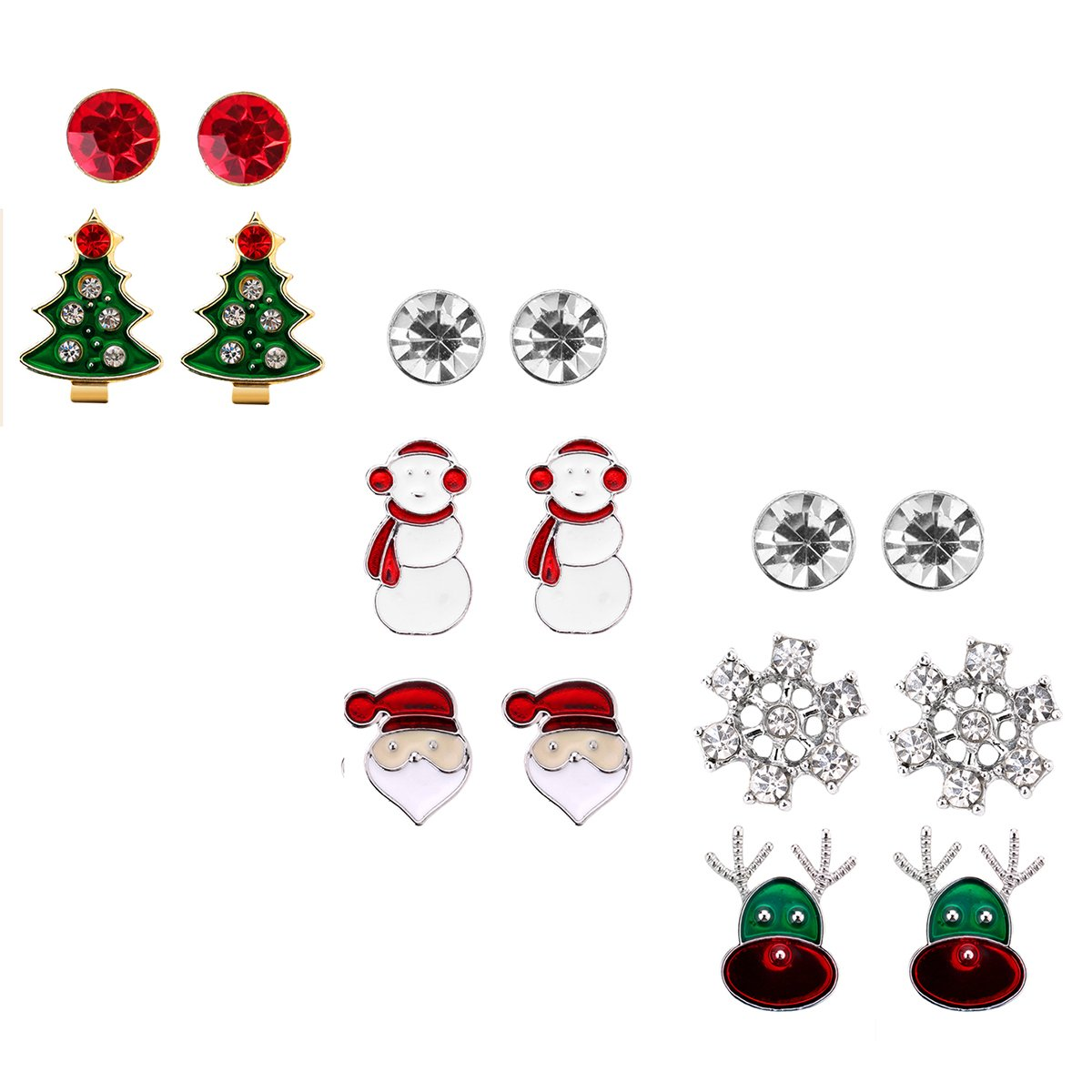 Snowmen Christmas Stud Earring Set Gift Pack of 8 Pairs Hypoallergenic Christmas Gift Jewelry for Women Girls Kids Teens Christmas Santa Claus Deer Green Christmas Tree Holiday Earrings