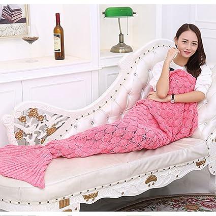 Hilo de punto manta de cola de sirena hecho a mano Crochet sirena manta para adultos