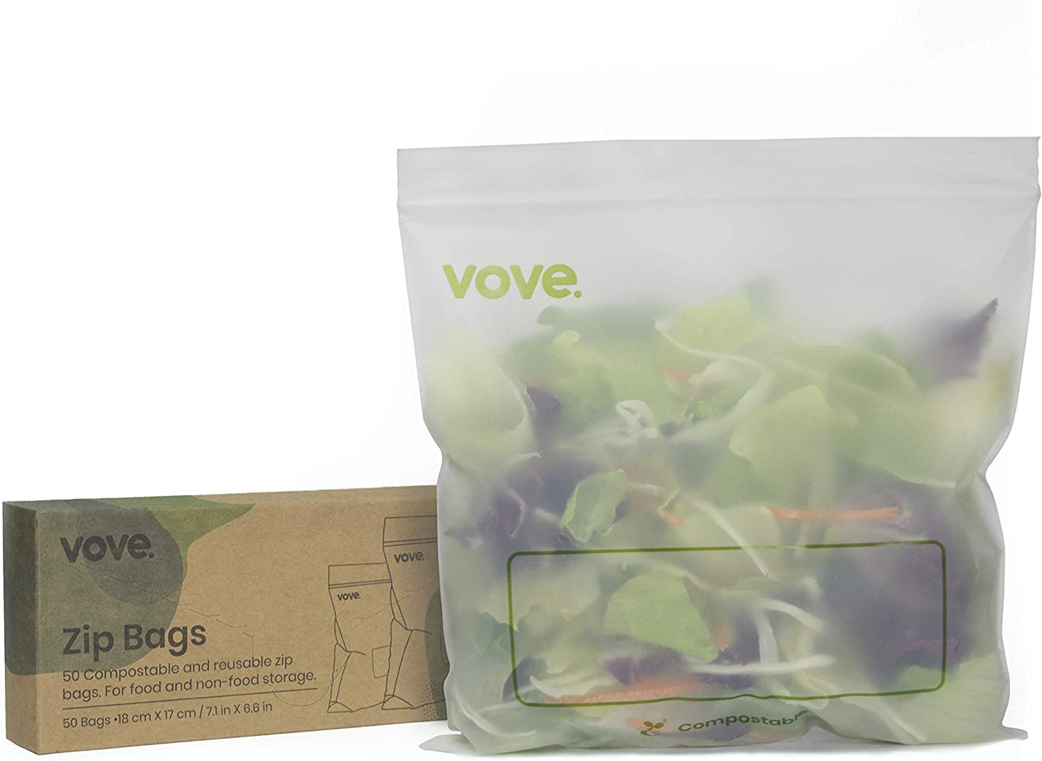 Vove | Compostable Biodegradable Zip Bags | 50 Count | Sandwich & Snacks | Eco-Friendly | Resealable Storage Bags |
