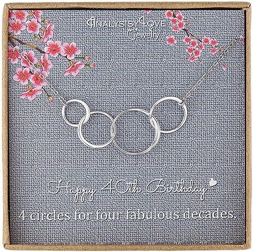 Amazon.com: 40 cumpleaños regalo para mujeres – plata de ley ...