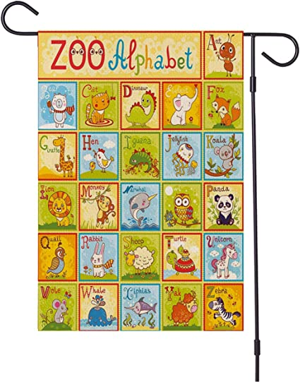 Cartoon Garden Flag Educational Zoo Alphabet Design Colorful Style Funny Cartoon Animals Children Outdoor Decoration Of Houses And Gardens All Weather Anti Fading Material Sided Polyester 12x18 Inch Garden Outdoor