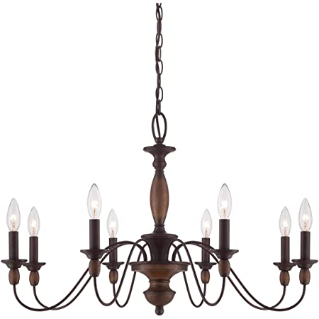 Quoizel HK5008TC Holbrook Chandelier, 8-Light, 480 Watts, Tuscan Brown 20 H x 29 W