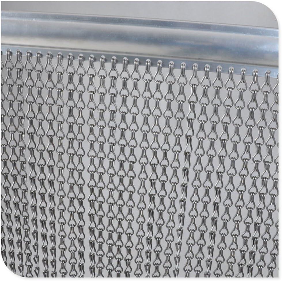 Cortina de aluminio plateado con mosquitera de 90 x 200 cm para control de plagas, diseño de ala caliente, color plateado