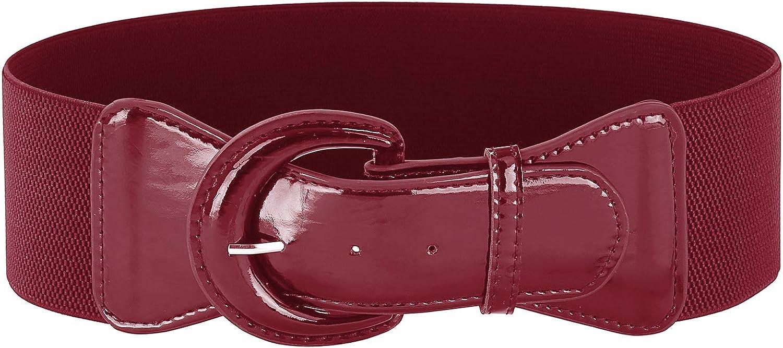 Belle Poque Womens Vintage Elegant 3 inch Wide Stretchy Cinch Belt Chunky Buckle Belts S-XXXXL 2043