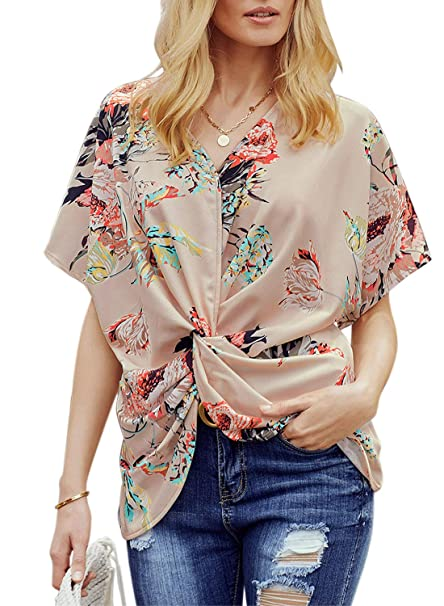 fd5680476c Dokotoo Womens Fashion Floral Blouses Short Sleeve V Neck Twist Ruched Tops  and T Shirts S-XXL