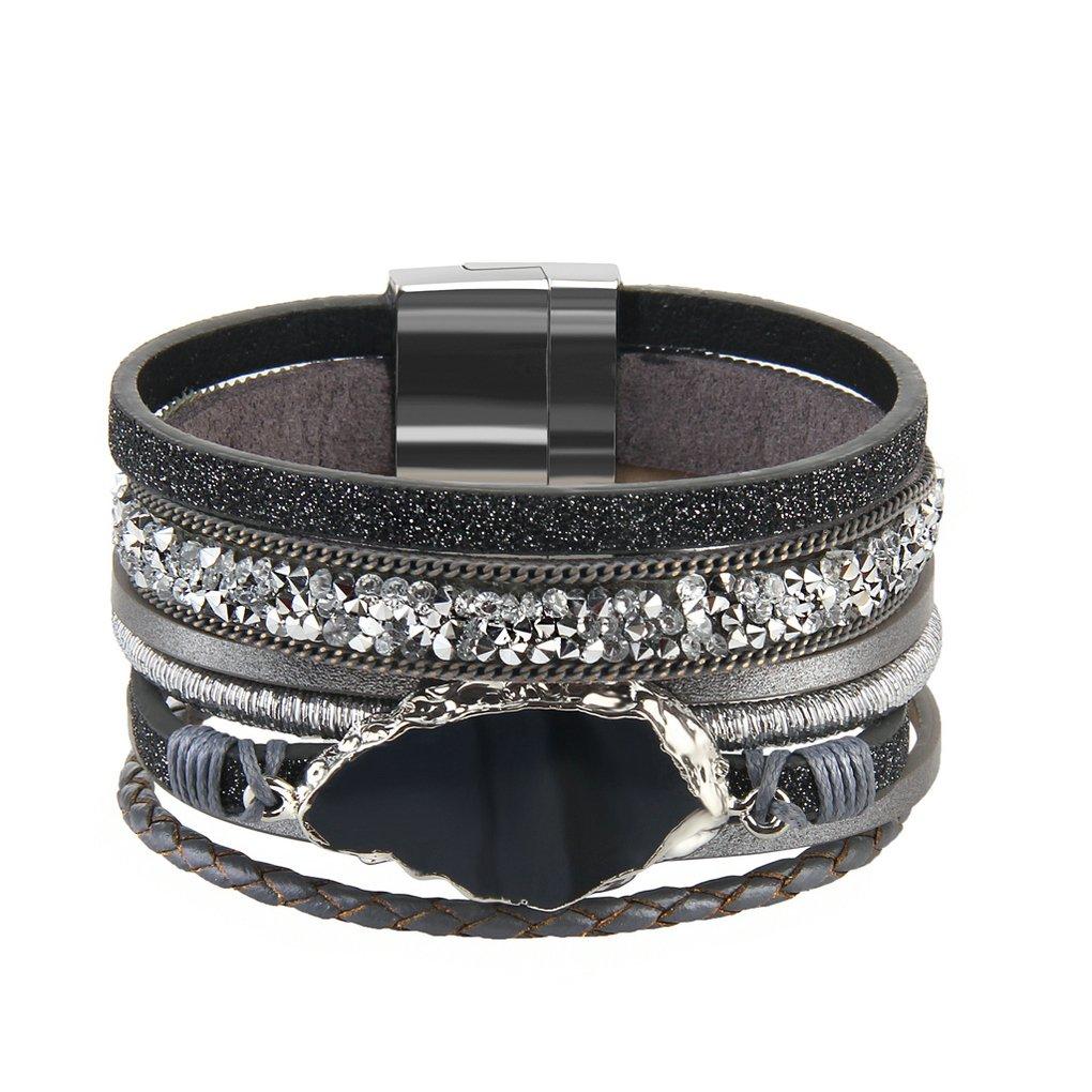 Bfiyi Leather Bracelet Women Agate Bangle Handmade Jewelry Fashion Bracelets Teen, Mother, Sister