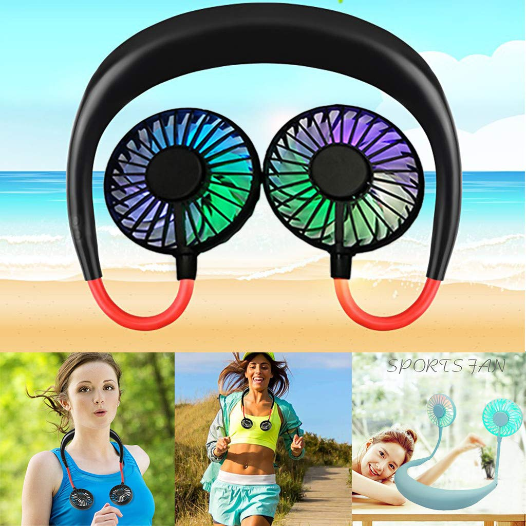102 x 70in, Black LAIHUI Neckband Portable Fan,Cute LED Light Dual Head Fan,Adjustable USB Rechargeable Fan,Mute Strong Wind Fan,Travel Folding Fans for Home Office Car Outdoor Subway Picnic