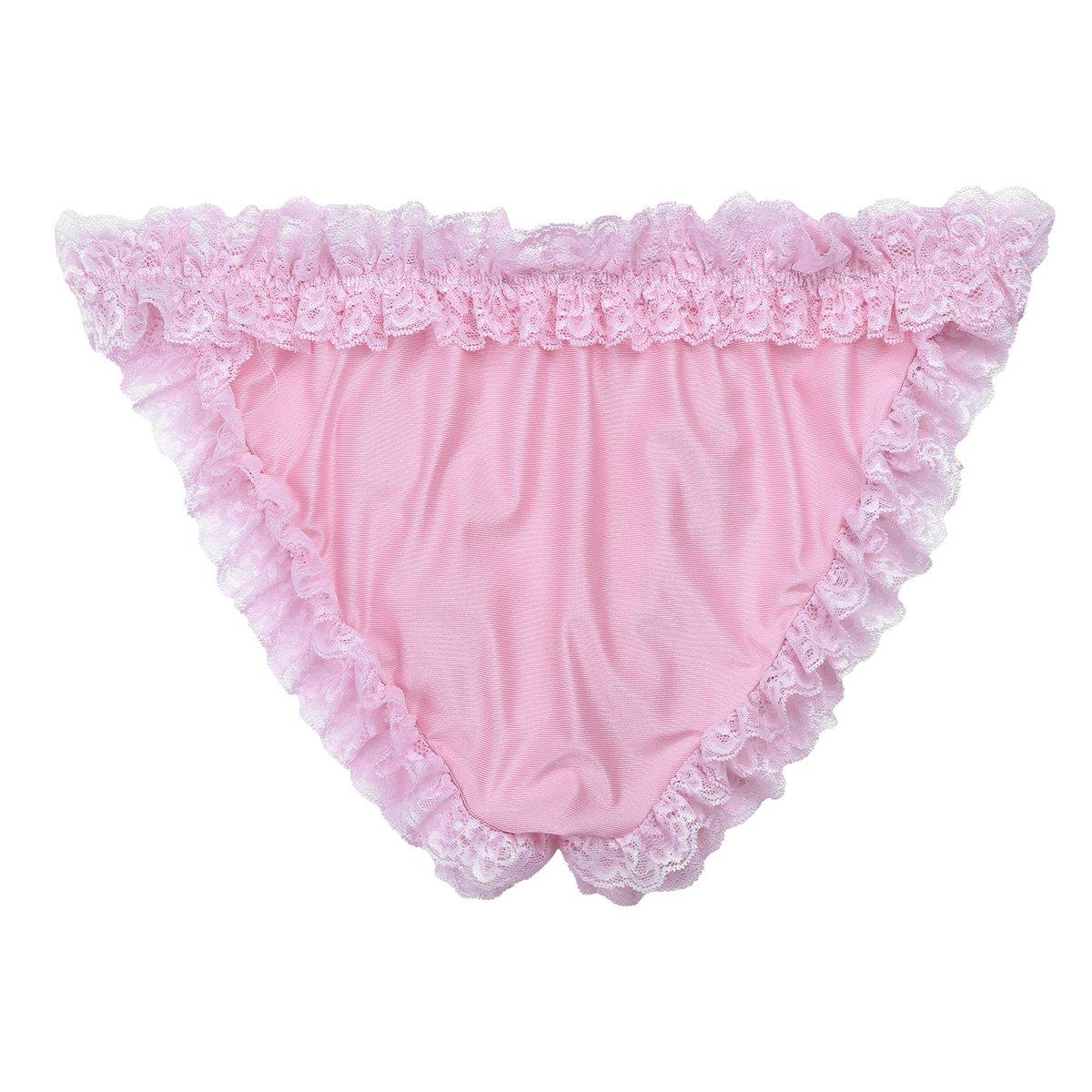 2017471fc16 FEESHOW Men's Bowknot Sissy Maid Floral Lace Bikini Briefs Low Waist Panties  Underwear Pink Medium (Waist 28.0-53.5