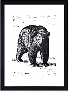 BEZALEL Black Bear Pictures Wall Art for Living Room Decor - Vintage Rustic Grizzly Bear Poster Cubs Canvas Wall Art Paintings Prints for Bathroom Bedroom Decor - 11x14 Unframed Bear Wall Decor for Cabin