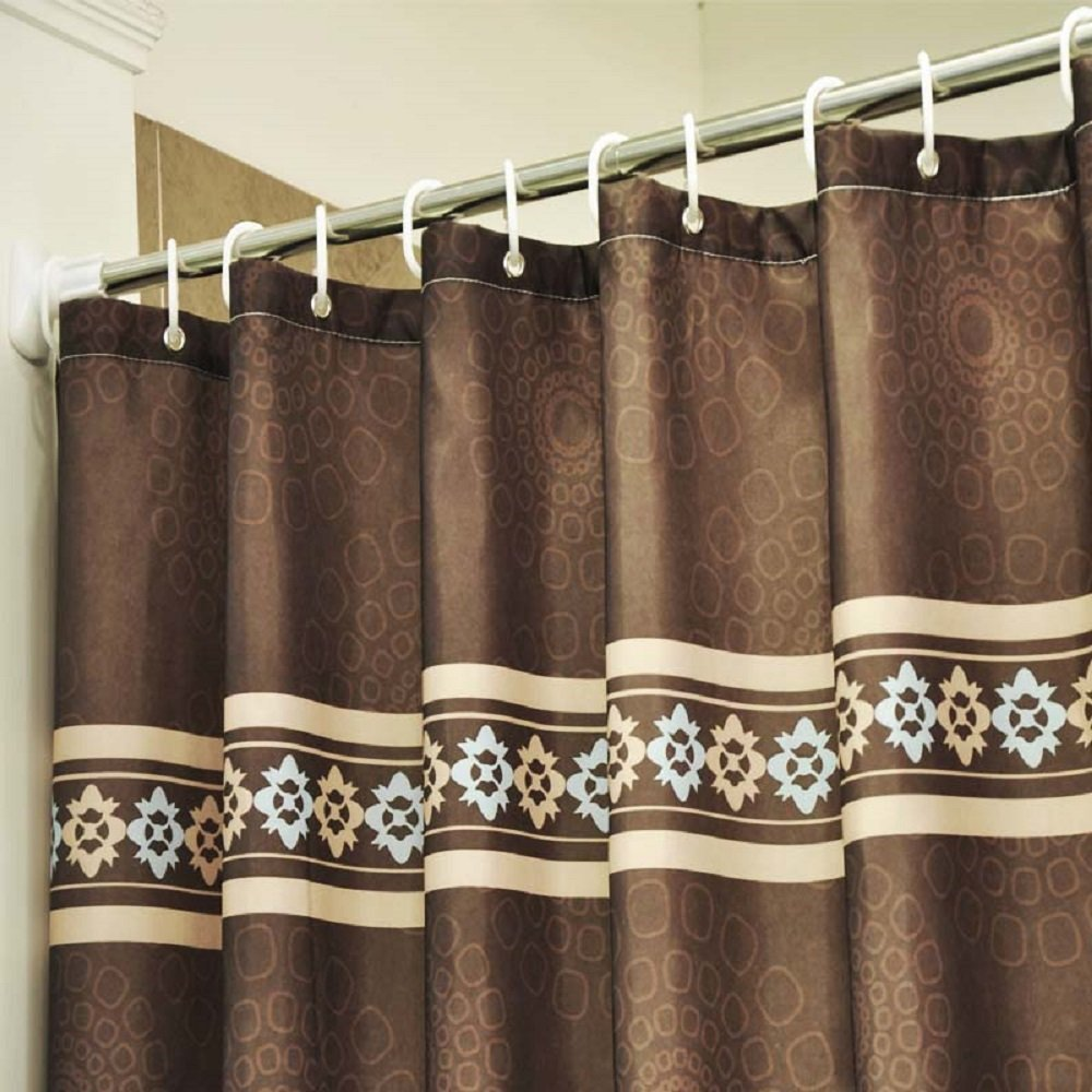 Ufaitheart Waterproof Fabric Shower Curtain 72 x 72 Inch, Fashion Decorative Bathroom Shower Curtain Sets, Coffee/Chocolate Brown