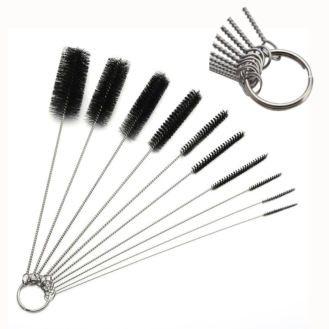 Itian 10Pcs Nylon Bottle Tube Nozzle Brushes Hanging Key Ring Needle Mouth Cleaning Tube Brush Set Kitchen Tool