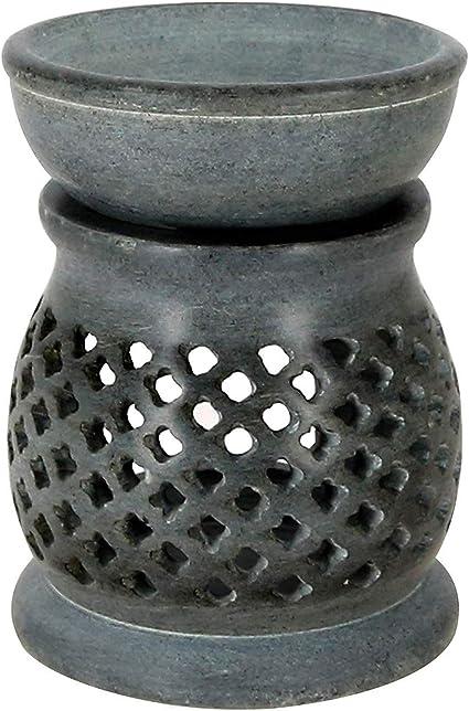 Lámpara aromática 11cm estrellas rejilla decorativa piedra de jabón hornillo 2 partes velita